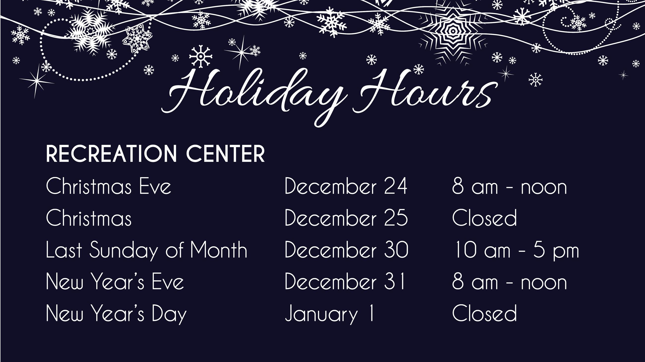 Holiday Hours Slide 2018