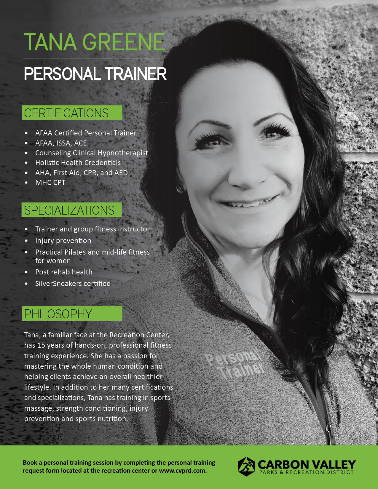 Photo of personal trainer Tana Greene with information about her personal training qualifications.
