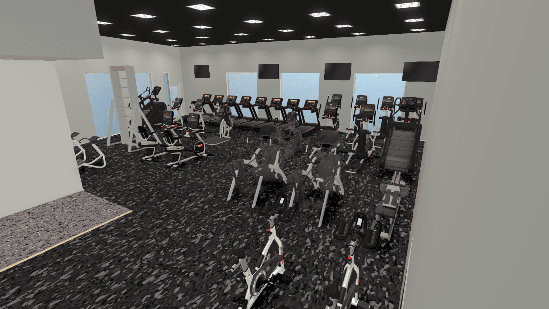Rendering of what new cardio equipment layout will look like after it's installed.
