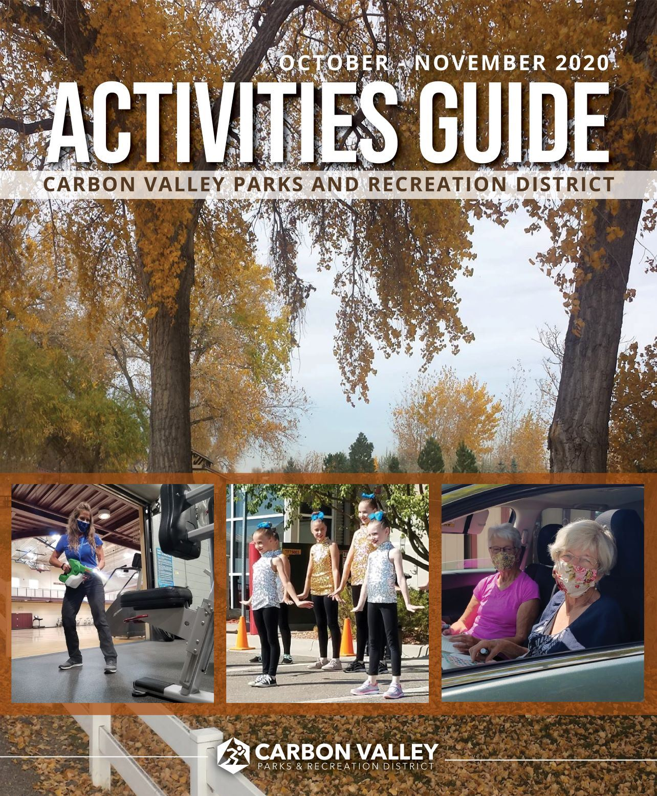 Cover of fall guide with photo of yellow leaves on trees at Milavec Lake