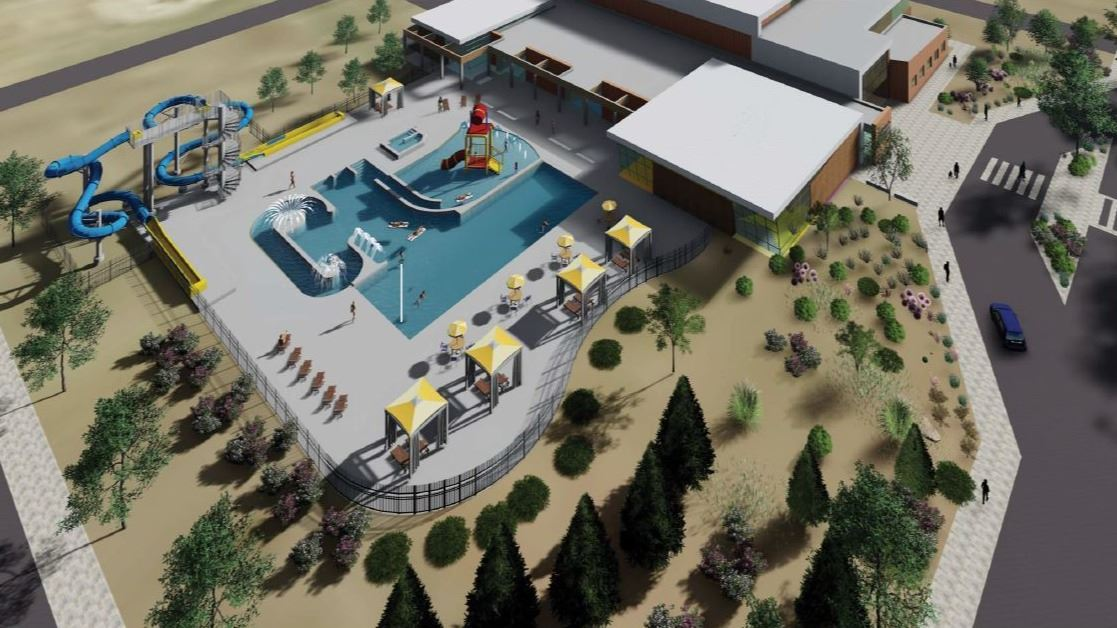 Rendering of the exterior of a new rec center with outdoor pool