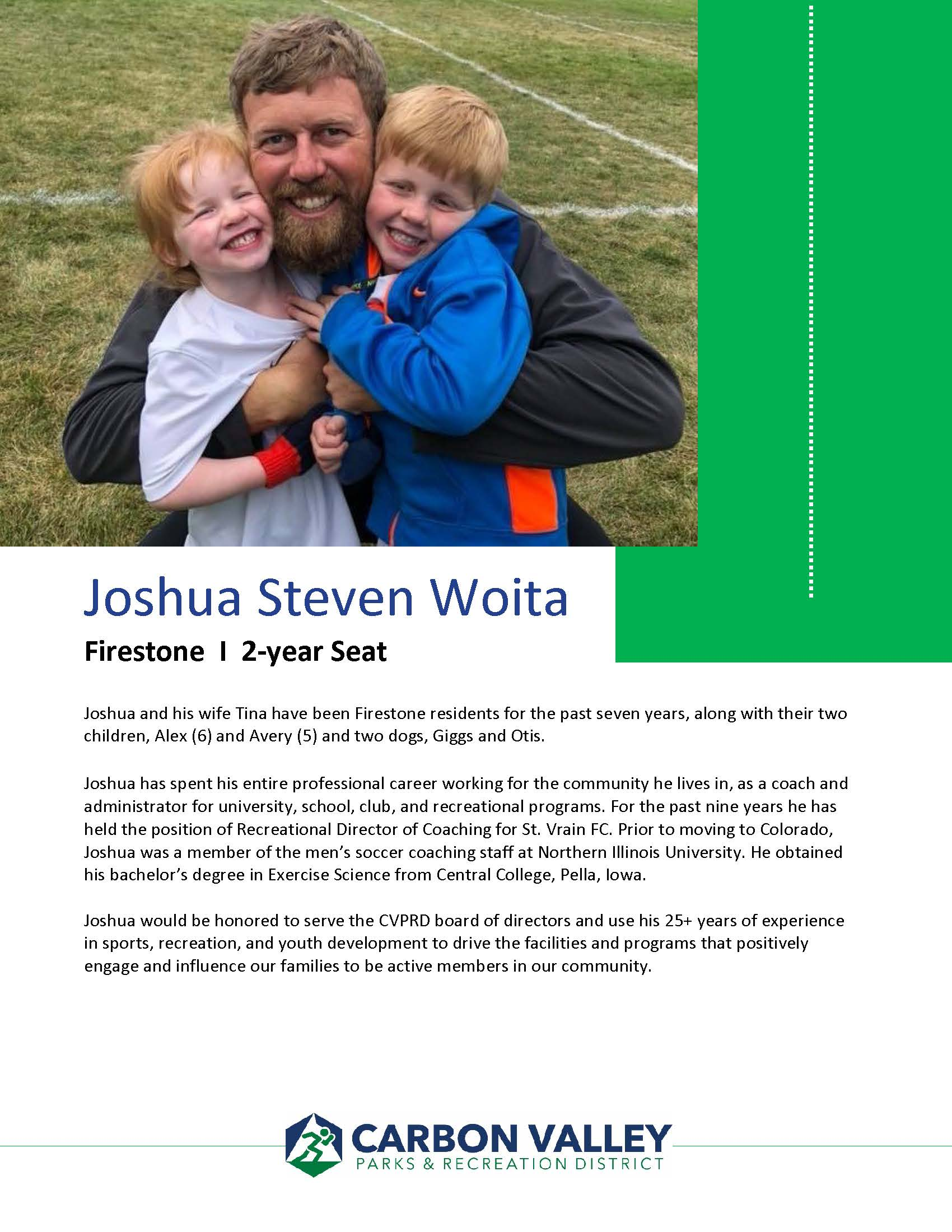 Joshua Woita biography and photo of he and his two young boys.
