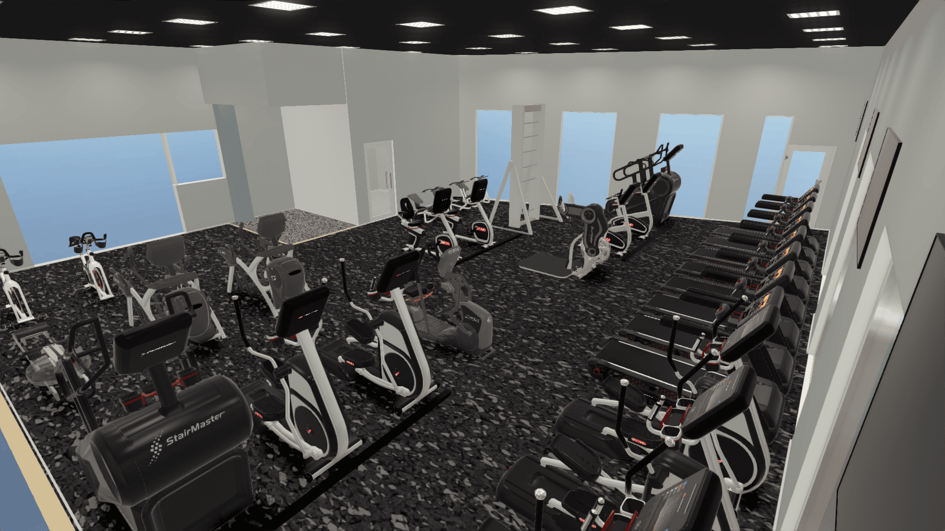 Rendering of what the cardio equipment will look like in the room when it's done.