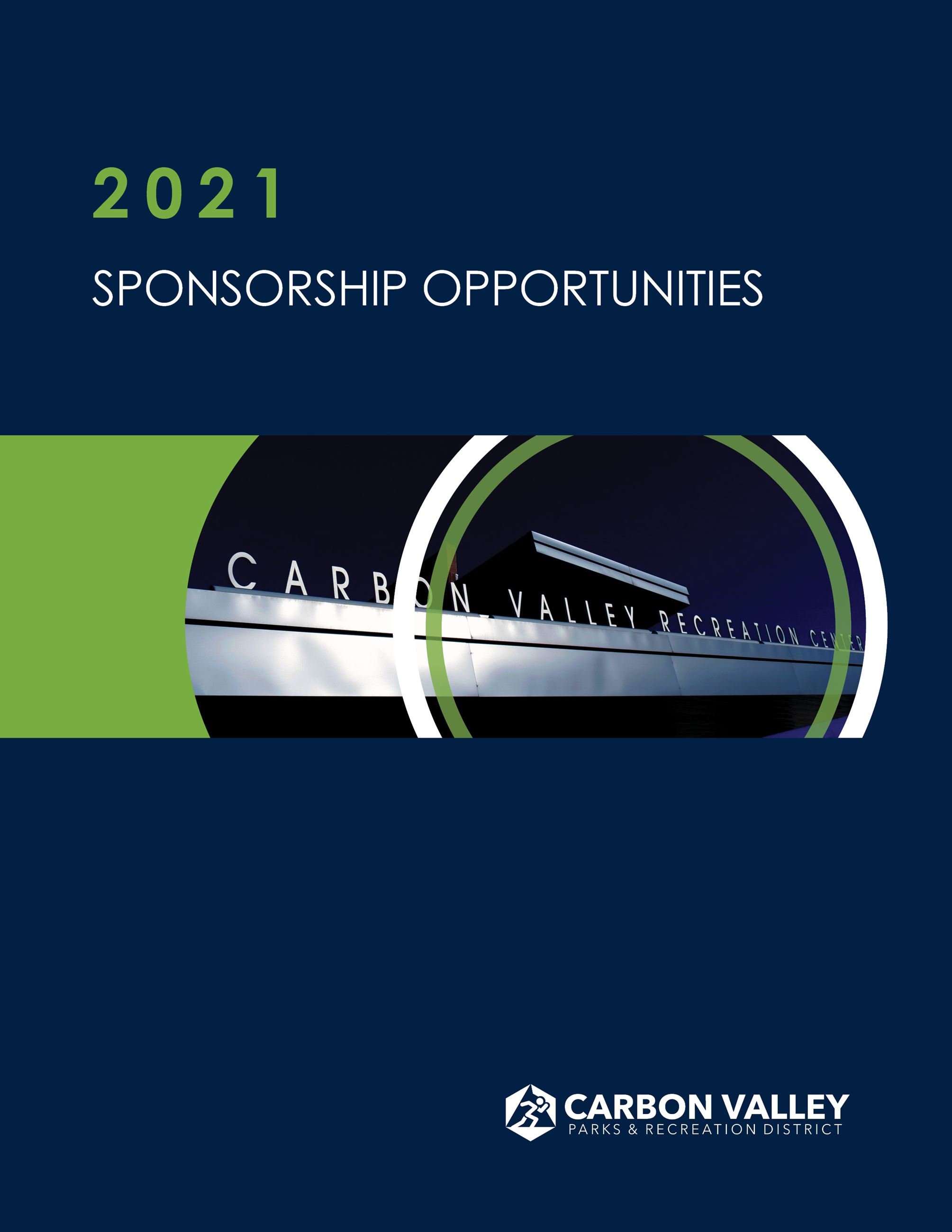 Cover of brochure that says sponsorship brochure 2021