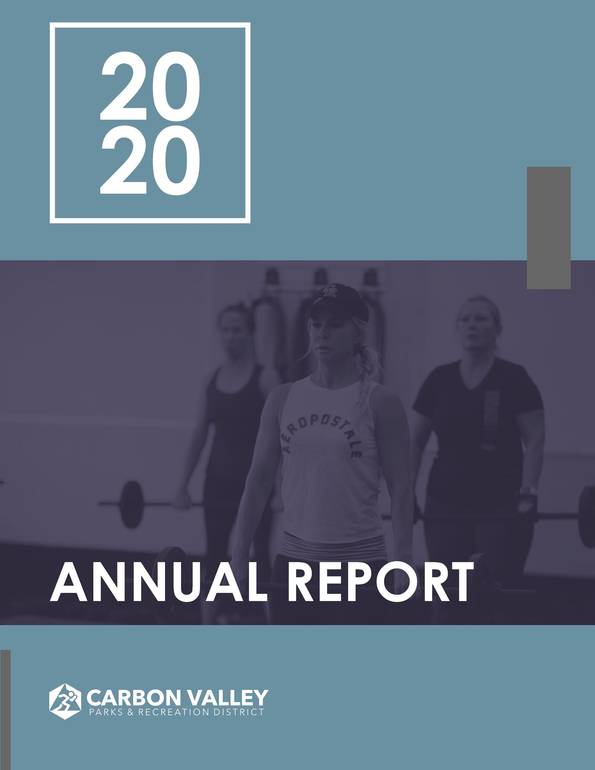 Cover of annual report with a woman in a hat lifting a weight bar in fitness class.  Opens in new window